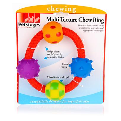 Petstages Presents Petstages Multi Texture Chew Ring Tex Chw. The Multi Texture Chew Ring Keeps your Dog'S Interest, while Helping to Enhance Health of Teeth and Gums. The Cotton/Polyester Rope Helps Remove Tartar that can Lead to Poor Dental Health. This Toy is Perfect for Chewing or Playing. [15794]