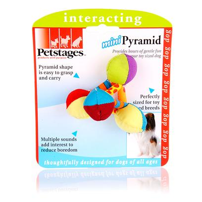 Petstages Presents Petstages Mini Plush Pyramid. Is Fun to Carry, Chase and Pull! Mini Sized for Smaller Dog with Rattle and Bell that Draws and Keep Dogs Interest. Tiny Bars are Easy for the Small Dog to Grasp, Shake and Toss. The Prefect Toy for your Toy Sized Pet [15797]