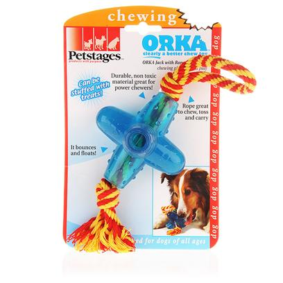 Petstages Presents Petstages Orka Chew with Rope Jack 12'. The Orka Jack is the Perfect Toy for Chewing and Play. The Chewy Jack Shape is Fun to Bounce and Offers Challenging Interaction and Long-Lasting Chew Sessions! Durable, Non Toxic Material Greta for Power Chewers! Plus the Hollow Ends can be Filled with Treats if Desired. [15812]