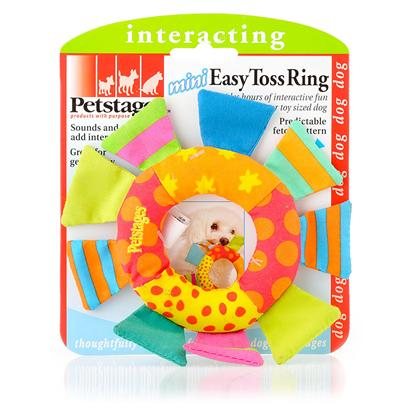 Petstages Presents Petstages Mini Easy Toss Ring. The Easy Toss Ring Continues the Bonding Process with your Dog through Gentle, Interactive Play. Great for Inside or Outside Fetch. The Crinkle Sound in Flags Helps Keep Interest Level High. [15834]