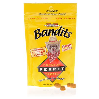Marshall Presents Marshall Bandits Ferret Treats 4oz. Ferrets Literally Beg for Bandits. They're Made with Fresh Meat Protein and are the Healthiest Treat for your Pet. Avoid Dairy and Sugar Based Treats that may Cause Health Problems in Ferrets and Trust the Meat Based Treats your Ferret Loves. [15858]