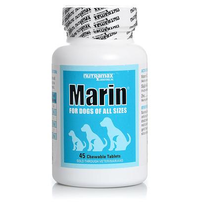 Nutramax Labs Presents Marin for Dogs 45 Chewable Tablets. Marin Provides Support for the Liver with Silybin and Vitamin E. Marin also Contains Zinc for Additional Benefit. The Chart Below Illustrates that the Silybin in Marin which is in a Phosphatidylcholine Complex has Increased Bioavailability in Dogs, Reaching Levels Up to 4 Times More than that Seen with 80% Standardized Milk Thistle Extracts (Silymarin). Marin is Available in a Convenient Chewable Formulation which Provides Another Option for Those Pets Requiring on-Going Liver Support. Marin, Denosyl, and Denamarin Support the Liver through Differing Actions and may be Used Individually or in Combination Depending on your Pet's Needs. Your Veterinarian can Advise you on the Best Way to Support your Pet's Liver. [38010]