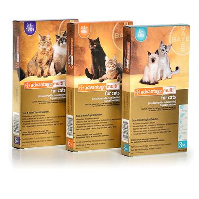 Bayer Presents Advantage Multi for Cats 9.1 to 18 Lbs Purple (6 Month Supply). Advantage Multi for Cats is an Effective Once-a-Month Topical Solution that Treats a Variety of Parasitic Issues. In Addition to Providing Safe, Effective Cat Flea Control and Killing Adult Fleas, Advantage Multi is also Effective in Treating and Controlling Ear Mites, Preventing Heartworm Disease, and Controlling and Treating Roundworm, Hookworm and Whipworm. Advantage Multi for Cats is Safe Enough to be Used on Kittens as Young as Nine Weeks of Age and Weighing at Least Two Pounds. To Apply Advantage Multi, Part the Hair at the Base of your Cat's Head and Squeeze the Solution Onto the Skin. Always Make Sure to Avoid Contact with your Cat's Eyes. Do not Allow your Cat to Lick the Applicator or the Application Site of Another Cat. You and your Cat can Say Good-Bye to Fleas, Mites and Worms with Advantage Multi for Cats. [16264]