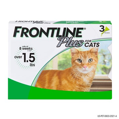 Merial Presents Frontline Plus for Cats 3 Pack. Frontline Plus for Cats Kills Fleas, Flea Eggs, Flea Larvae, Ticks, and Chewing Lice, all Within 48 Hours. It also Kills a Variety of Ticks, Including Those that may Carry and Spread Lyme Disease. Within 24 Hours of Application, a Dose of Frontline for Cats Spreads over the Entire Surface of the Skin and Protects your Pet for 30 Days by Breaking the Life Cycle of Fleas and Controlling Tick and Chewing Lice Infestations. Frontline Plus for Cats is Intended for Cats and Kittens 8 Weeks and Older. [16123]