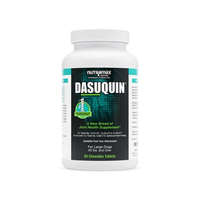 Nutramax Labs Presents Dasuquin for Dogs Large 60lbs and over-150 Chewable Tabs. Keep your Dog Spry and Happy with Dasuquin for Dogs-a Daily Glucosamine/Chondroitin Sulfate, Designed to Help Repair and Lubricate Cartilage in Joints. Dasuquin Differs from Cosequin by Containing the Added Ingredients of Avocado/Soybean Unsaponifiables and Decaffeinated Tea, which Provide Joint Hydration. [16276]