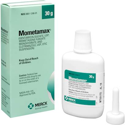Schering-Plough Presents Mometamax 7.5gm. Mometamax is Prescription Ear Infection Treatment for Dogs that Contains Gentamicin, an Antibacterial, Mometasone, an Anti-Inflammatory, and Clotrimazole, an Anti-Fungal Medication. Combined, these Ingredients Treat Ear Infections and Keep your Pet Healthy. [16281]