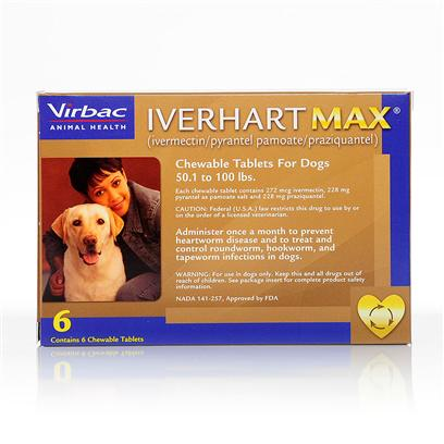 Virbac Presents Iverhart Max Max-Dogs 25.1 to 50 Lbs-12 Month Supply. Iverhart Max is a Monthly Prescription Chewable Tablet, which Protects Against Heartworm Disease, and Controls Roundworm, Hookworm, Flatworm, and Tapeworm. Iverhart Max Contains Ivermectin, Pyrantel Pamoate, and Praziquantel, Powerful Ingredients, Each Treating Specific Parasites. The Ivermectin Prevents Heartworm Disease by Killing Developing Heartworms, and Shortening the Lifespan of Adults. The Pyrantel Pamoate Detaches Roundworm and Hookworm from the Intestinal Walls, which are then Expelled by the Body. Praziquantel Works Like Pyrantel Pamaote, However it Detaches Tapeworms. Iverhart Max is for Dogs and Pups 8 Weeks and Older, and 6 Pounds and Heavier. [16933]