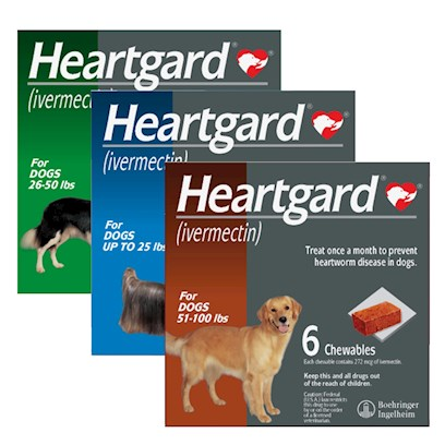 Buy Dog Treats for Heartworm products including Heartgard for Dogs Brown 51-100lbs Six Month Supply, Heartgard for Dogs Green 26-50lbs Six Month Supply, Heartgard for Dogs Blue Up to 25lbs Six Month Supply Category:Deworming Price: from $31.99