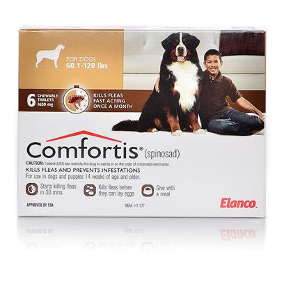 Lilly Presents Comfortis Extra Large Dogs 60-120 Lbs 6 Months Supply. Comfortis is an Fda-Approved, Beef Flavored Chewable Tablet Flea Treatment, that Starts to Kill Fleas Within 30 Minutes and Prevents Flea Infestations for 30 Days. This Unique Approach to Flea Control Provides the Convenience of Ultra Fast Treatment, with Prolonged Efficacy. Comfortis Contains Spinosad, which Activates Nicotinic Acetylcholine Receptors in the Flea, Causing the Flea to Seizure, then Die. While Other Flea Treatments do not Continually Repel Fleas, Comfortis Keeps your Dog or Cat Flea-Free for Thirty Days at a Time. There's no Need to Isolate your Dog or Cat from Other Pets. Comfortis is for Dogs and Cats 14 Weeks and Older. [16986]