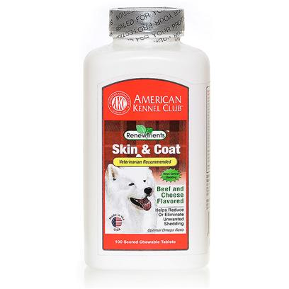 Akc Renewtrients Presents Akc Skin &amp; Coat 100 Tablets. Akc Skin &amp; Coat Contains a Special, Veterinarian Recommended, Blend of Natural Oils, Herbs, Minerals, Antioxidants and Vitamins, which can Effectively Reduce - and in Many Cases Stop  Non-Seasonal Shedding in Dogs while Providing a Healthier and Shinier Coat. Since 1884, the American Kennel Club has been the Nation's Leading Authority on Dogs. Each Akc Renewtrients Product has been Specifically Formulated to Provide your Companion the Optimal Nutritional Support to Bring out the Champion in your Dog. [16996]
