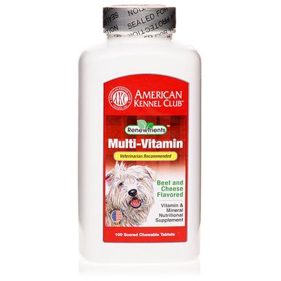 Akc Renewtrients Presents Akc Multi-Vitamin 200 Tablets. Akc Multi-Vitamins are a Specially Formulated, Veterinarian Recommended, Supplement Designed to Provide a Full Range of Vitamins and Minerals that Complement your Dog's Normal Diet. Ensure your Dog's Best Health with an Extra Dose of Necessary Vitamins. Since 1884, the American Kennel Club has been the Nation's Leading Authority on Dogs. Each Akc Renewtrients Product has been Specifically Formulated to Provide your Companion the Optimal Nutritional Support to Bring out the Champion in your Dog. [37267]