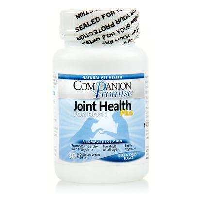 Natural Vet Health Presents Companion Promise-Joint Health Plus for Dogs 30 Tabs. Companion Promise Joint Health for Dogs is a Nutritious Supplement, Containing Glucosamine/Chondroitin Sulfate, that Helps Relieve Dog Joint Pain, and Prevent and Improve Joint Problems. Companion Promise Joint Health for Dogs Promotes Cartilage Production, while Helping to Prevent Cartilage Breakdown. [17384]