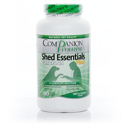 Natural Vet Health Presents Companion Promise Shed Essentials Plus for Dogs 180 Tabs. Are you Sick of People Pointing out the Dog Hair on your Clothes? Shed Essentials Plus Provides the Perfect Combination of Ingredients to Substantially Decrease the Amount of Shedding your Dog Experiences. Shed Essentials Plus is also a Good Source of Concentrated Fatty Acids, Combining Omega-3 and Omega-6 Fatty Acids to Create a Coat-Enhancing Formula that will Restore your Dog'S Coat and Improve their Skin at the Same Time. The Tasty Beef and Cheese Flavor of the Chewable Tablets Means your Dog will be Happy to Get this 'Treat'! [17337]