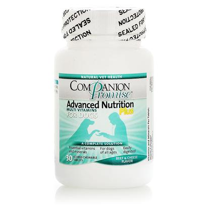 Natural Vet Health Presents Companion Promise Advanced Nutrition Multi-Vitamin Plus for Dogs 30 Tabs. Just Like Humans, Dogs DonT Necessarily Get all the Nutrition they Need from Food Alone. The Advance Nutrition Multi-Vitamin Plus for Dogs is an Inexpensive Way to Give your Dogs that Healthy Edge. By Incorporating a Daily Vitamin with their Meal, you can Provide your Pet with the Correct Balance of Nutrients, Vitamins and Minerals they Need to Maintain Optimal Health. These Beef and Cheese Flavored Chewable Tablets will Increase Energy, Strength, and Overall Happiness of your Pup. [17388]