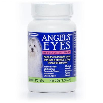 Angels Eyes Presents Angels' Eyes for Dogs and Cats-Sweet Potato Flavor 30g/1.06oz (Sweet Flavor). Angels Eyes is an over-the-Counter Approach to Ridding your Dog or Cat of Tear Stains. Angels Eyes is Wheat-Free and Dye-Free, and is Intended to be Mixed with Food Daily. It Changes the Chemical Structure of your PetS Tears to Prevent Stains. These Stains Stop Forming Within 3 to 5 Weeks. Angels Eyes is Intended to be Used on Dogs and Cats, 6 Weeks and Older. [17359]