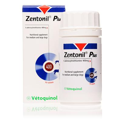 Zentonil Presents Zentonil Plus 400mg/30 Tablets. Zentonil Plus is a Nutritional Supplement that Provides a Safe and Effective Therapeutic Tool for the Relief of Hepatic Stress with the Ingredient S-Adenosylmethionine (Same), which has been Clinically Proven in Veterinary Trials to Support and Protect Hepatocellular Function in Pets. [17380]