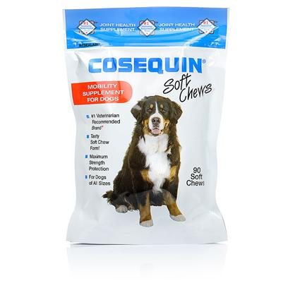 Nutramax Labs Presents Cosequin Soft Chews for Dogs 90. Cosequin Soft Chews are a Delicious Treat for your Dog, that Double as a Joint-Health Supplement. This Supplement Supports Articular (Joint) Cartilage Production and Protects Existing Cartilage from Breaking Down. As your Dog Chews their Delicious Treat, the Glucosamine and Chondroitin Ingredients are Aborbed and Impact his or her Joint Health. [17381]