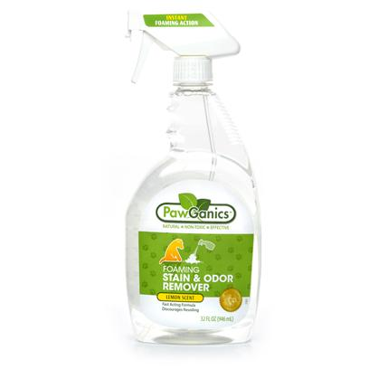 Pawganics Presents Pawganics Foaming Stain &amp; Odor Remover 32oz. Pawganics Foaming Stain &amp; Odor Remover Fights Tough Pet Accidents and Smell  Naturally. Our Powerful Instant Foaming Formula Penetrates Deep Down and Eliminates the Stinkiest of Smells, Helping to Discourage your Pet from Resoiling.Available in 32 Fl. Oz. Foaming Trigger Spray Bottlenatural Lemon Scent [17418]