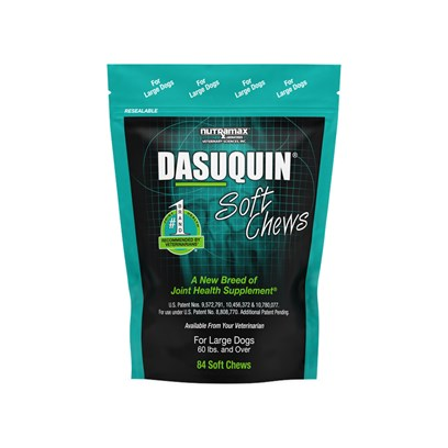 Nutramax Labs Presents Dasuquin Soft Chews for Dogs Large over 60lbs-84ct. Age is Nothing but a Number Thanks to Dasuquin Soft Chews for Dogs- Medicinal Treats that Ease the Pain and Discomfort Associated with Osteoarthritis in Dogs. When Used According to the Dosage Instructions, the Tasty Treats Promote Joint Health and Get Dogs Up and Moving.Dasuquin Soft Chews for Dogs are Available for Dogs of all Sizes. [17426]
