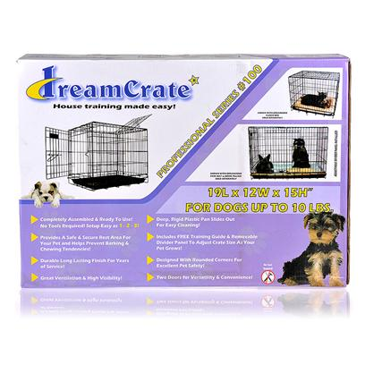 Buy Dreamcrate Dog Crate Pro Series 100 Pink 19' X 12' Crate Training can be as Tough on you as it is on your Dog. The Crate Itself should be the Least of your Worries. Pet TekS Dreamcrates Take the Guesswork out of Crate Assembly, Cleaning, and Safety. TheyRe Made from a Durable and Secure Metal; there are no Sharp Edges Anywhere on the Crate, so you can be Sure Pooch WonT be Poked or Snagged while Moving Around; and a Rigid Plastic Pan Liner Slides in and out and is Easy to Clean. The Crate has a Heavy-Duty Carrying Handle, and a Removable Divider Panel. The Crate is Wide Open and Airy, but you can Drape Blankets to Create a Cozy Den Feeling. The Crate Requires no Tools for Assembly and Comes Together in Three Simple Steps. The Crate also Collapses Flat in no Time at all for Easy Storage. With the Right Bedding, Toys, and Other Comfy Accessories, Pet TekS Dreamcrate for Dogs is a no-Nonsense Option for Crate Training, Transportation, or Whatever Else a Pup Might Need from their Crate Experience. [17437]