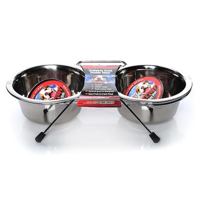 Loving Pets Presents Stainless Steel Packaged Double Diner Pint Lv Ss Dbl. Double Diners are an Excellent Feeding Dish, with Rubber Feet to Reduces Sliding and Helps Reduce some Potential Messes by your Pet. [17444]
