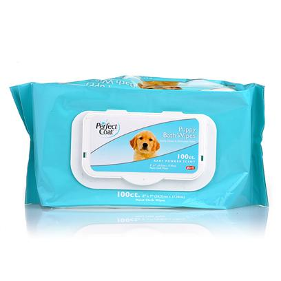 8 in 1 Presents Perfect Coat Bath Wipes Puppy 100 Pack. Perfect Coat Bath Wipes are the Easiest and Quickest Way to Keep your Pet Clean and Smelling Fresh! Specially Formulated to Leave Skin & Coat Cleany & Shiny. Mild Formula Safely Eliminates Tough Pet Odors. Enriched with Moisturizing Aloe Vera and Lanolin Conditioners to Leave Skin and Coat Healthy. Baby Powder Scented Alcohol Free Formula is Mild Enough for Everyday Use. Super Premium Cloth Material is Durable yet Gentle on Skin. Reduces Static Buildup Froms Pet's Coat. Wipe Size 7' X 8' [17449]