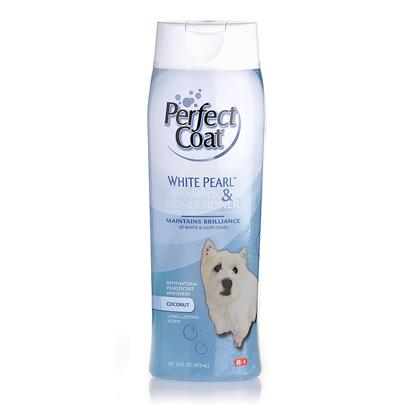 8 in 1 Presents Perfect Coat 16oz Shampoos 8in1 Shampoo Puppy. Helps Maintain the Richness an Brilliance of White and Light Coats. With Natural Pearlescent Whiteners. Long Lasting Coconut Fragrance. [17457]