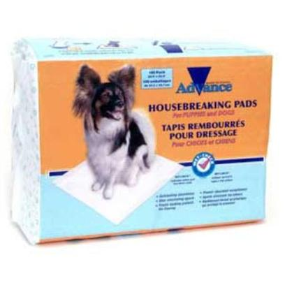 Coastal Presents Coastal Advance Housebreaking Pads 100 Pack. These Training Pads Feature Super Absorbent Poylmer--No Worries About Leaks! Now with Advanced Wet Check Technology, the Pad Turns Blue when Wet. The Pads Come in Space-Saving Packaging--Convenient for You. [17466]