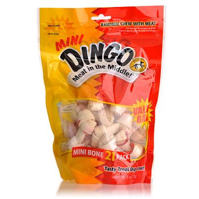 Dingo Brand Presents Dingo Mini Bone 21 Pack (2.5'). The Original Meat in the Middle Chew. Real Chicken Jerky Wrapped in White Rawhide. [17479]