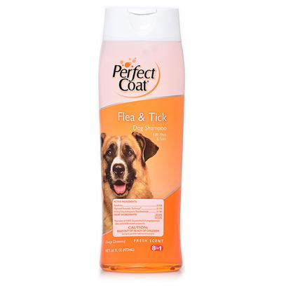 8 in 1 Presents 8 in 1 Perfect Coat Flea & Tick Shampoo 16oz. 8 In1 Perfect Coat Flea and Tick Dog Shampoo Safely and Effectively Kills Fleas and Ticks. With Moisturizing Conditioners which Leaves your Dog's Skin and Coat Healthy. Long Lasting Fresh Scent. [17480]