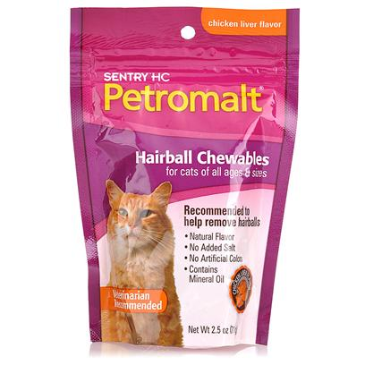 Buy Petromalt Hairball Remedy Treat 2.5oz Bag the Original Hairball Remedy for Cats Now in a Delicious Treat. Helps Reduce Hairball Problems. No Added Salt or Artificial Colors. Tasty 1/2&quot; Semi-Moist Morsels Contain Rice Bran and Mineral Oil to Help Prevent and Eliminate Hairballs and their Symptoms. 2.5 Oz [17489]