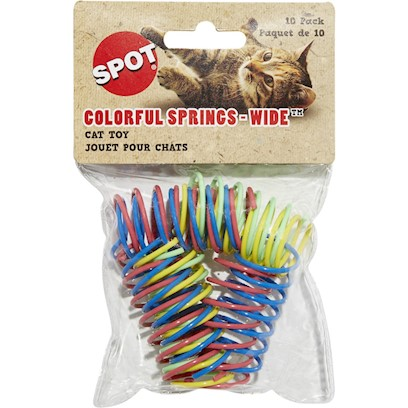 Ethical Presents Colorful Springs Wide Cat Toy 10 Pack. Fun Bright Colors, Great Impulse Item. [17516]