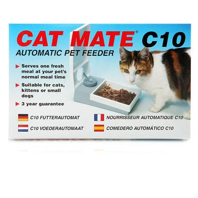 Ani Mate Presents Cat Mate Meal Feeder Animate C10. First to Develop the Concept of Automatic Pet Feeders, Pet Mate Offer you the World's Best Selling Product Range with 3 Models that Cater for all Requirements. Whether Working Late or Away for a Weekend, all Cat Mate Feeders Ensure Fresh Meals will be Reliably Served at the Correct Time, Automatically. * Meals Served at the Time you Set (not Fixed Intervals) * Reliable and Accurate Quartz Timers * over 1 Year's Continuous Use from 1 X Aa Battery * Battery Condition Indicator * Easy Clean, Dishwasher Proof Lids/Bowls * Tamper Resistant to Pets * Suitable for Cats and Small Dogs * 3 Year Guarantee * Serves One Meal at any Selected Time Up to 24 Hours Later * 1lb/450g Food Capacity - Sufficient for 2 Cats or a Small Dog 2 &quot; X 5 &quot; X8 &quot;; 1lb Canned for in One Bowl, 1 Cup Dry; .78lbs [17726]