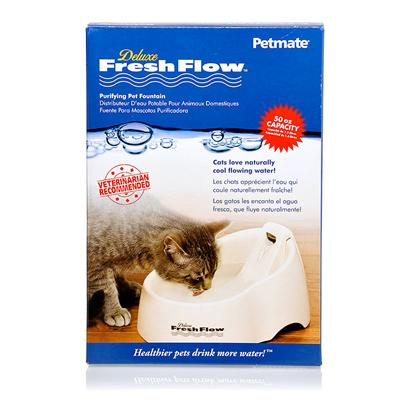 Petmate Presents Delux Fresh Flow Cat Fountain Medium. The Deluxe Fresh Flow Fountain is an Ultraquiet Purifying Pet Fountain. Charcoal Filter Cleans the Water. Provides Naturally Cool and Oxygenated Water. White Medium 13.5&quot;X9&quot;X7&quot; [17741]