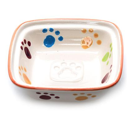 Ethical Presents Stoneware Paw Print Square Cat Dish 5' Spot Sq. Your Pet will Love this New Sqaure Design. Each Dish has a Pawprint Pattern on the Inside as Well as the Outside of the Dish. There is also an Embossed Pawprint in the Middle of the Dish Botom. [17761]