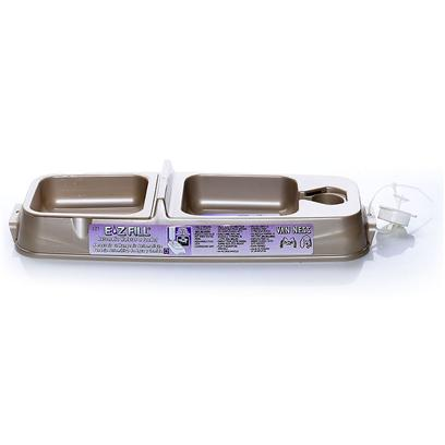 "Van Ness Presents Automatic Waterer and Feeder for Cats. Use Pop Bottle for Water, Feeding Dish is Removable for Cleaning, Dishwasher Safe, Assorted Colors 14 3/8"" X 5"" X 2 1/4"", Cap. 11oz/9oz/Side [17784]"