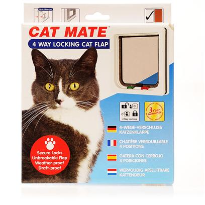 Ani Mate Presents Cat Mate 4 Way Locking Flap-White Flap (White) - Small. For Cat Owners Wanting Greater Control over their Cats' Access to and from the House, the 4-Way Locking Cat Flap Offers Exceptional Value for Money. Fits any Thickness. [17797]