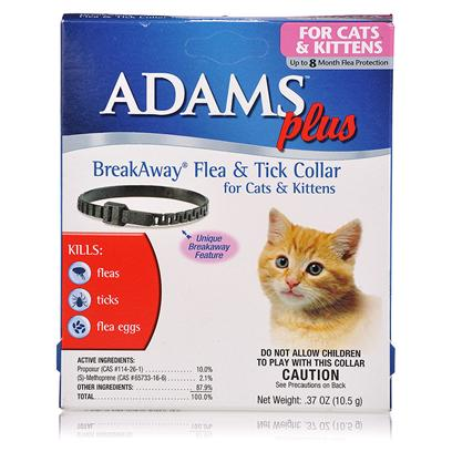 Farnam Presents Adams Plus Breakaway Flea and Tick Collar for Cats Kittens. Adams Plus Breakaway Flea and Tick Collar for Cats and Kittens Kills Fleas and Ticks Up to Eight Months. It Contains an Igr to Kill Flea Eggs and Flea Larvae and Prevent Re-Infestation. The Patented Adams Plus Breakaway Design Minimizes Risk of Injury to Cats and Kittens. [17800]