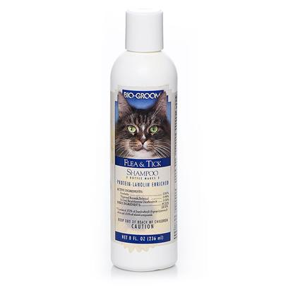 Bio Groom Presents Bio Groom Flea and Tick Shampoo for Cats 8oz. Flea and Tick is a Conditioning Shampoo Concentrate that Contains Pyrethrins for Killing Fleas, Ticks and Lice. Coconut Oil Derived Ingredients in this Formula Cleans Gently, Highlights all Colors and Makes White Sparkle. The Protein and Lanolin in this Shampoo Helps Condition the Skin and Coat. Prevents Dryness and Gives the Coat Body a Deep Down Luster and Sheen. Coat Dries Smooth, Manageable and Tangle Free. The Shampoo is Ph Balanced and Mild. It Rinses out Completely, Leaving the Coat Smelling Fresh and Clean. [17801]
