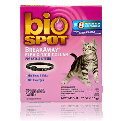 Farnam Presents Bio Spot Breakaway Flea and Tick Collar for Cats Breakway. Protect your Cat from Fleas and Ticks with this Fast-Acting Waterproof Collar that Fits Comfortably Around your CatS Neck. The Active Ingredients in this Collar Kill Fleas and Ticks Immediately, then Protect Against Fleas for 8 Months and Ticks for 6 Months. The Bio Spot Breakaway Flea and Tick Collar Prevents Reinfestation by Treating Fleas in all Stages of Life, Including Flea Eggs and Flea Larvae. The Buckle on this Collar is Specially Designed to Reduce Neck Irritation and Unclasping for a Comfortable and Secure Fit. [17802]