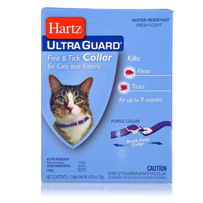 Hartz Presents Hartz Ultraguard Flea &amp; Tick Cat Collar Purple 13'. The Hartz (R) Advanced Care (Tm) 2 in 1(R) Flea &amp; Tick Collar Kills Both Ticks and Fleas for 5 Months. It Kills the Rocky Mountain Wood Tick, Carrier of Rocky Mountain Spotted Fever, and the Deer Tick which may Carry Lyme Disease. These Collars are Available in Various Colors and are Waterproof. Swimming, Rain and Getting them Wet do not Reduce Efficacy. For Use on Kittens 12 Weeks of Age or Older. 0.53oz.; (15g) [17806]