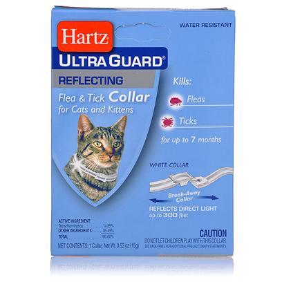 Hartz Presents Ultraguard Reflecting Flea and Tick Cat Collar Hartz Ug Reflect F &amp; T Col. The Hartz (R) Advanced Care (Tm) 2 in 1(R) Flea &amp; Tick Collar Kills Both Ticks and Fleas for 5 Months. It Kills the Rocky Mountain Wood Tick, Carrier of Rocky Mountain Spotted Fever, and the Deer Tick which may Carry Lyme Disease. These Collars are Available in Various Colors and are Waterproof. Swimming, Rain and Getting them Wet do not Reduce Efficacy. For Use on Kittens 12 Weeks of Age or Older. 0.53oz.; (15g) [17807]