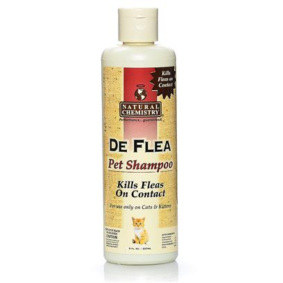 "Natural Chemistry Presents Natural Chemistry de Flea Shampoo 8oz. Natural Chemistry de Flea Pet Shampoo is Non-Toxic and does not Contain Pyrethrins or Similar Chemicals that may be Harmful to your Pet's Health. For Use on Dogs, Cats, Puppies and Kittens over 12 Weeks of Age. Will not Wash out ""Spot on Flea and Tick Treatments."" [17810]"