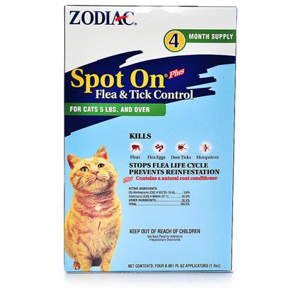 Wellmark Presents Zodiac Spot on Plus-Flea and Tick Control for Cats Kittens Spot-on F/T Cat 5lb+. Zodiac Spot-on Plus Flea &amp; Tick Control for Cats and Kittens Effectively Kills and Repels Fleas, Flea Eggs, and Ticks for Up to One Month. This Easy-to-Use Treatment is Specially Formulated with a Long-Lasting Insect Growth Regulator that Prevents Flea Eggs and Larvae from Maturing into Adult Fleas, Thus Stopping the Infestation Cycle. The Formula also Kills and Repels Mosquitoes that may Transmit Heartworm Disease. [17822]