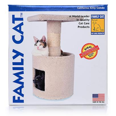 North American Pet Presents California Kitty Condo Boxed. Our Packaging Speaks for Itself! This Colorful Box Saves Space on your Shelf and is Easy to Merchandise or Stack on Endcaps &amp; Shelves. Try One for your Next Cat Furniture Promotion and see for Yourself. This Unit Assembles Easily with Full Instructions Included. The California Kitty Condo Comes with a Cozy Condo, a Sisal Post, and a Pedestal - so the Overall Value for your Customer is Great! Box Dimensions 14&quot;X14&quot;X15 [17829]