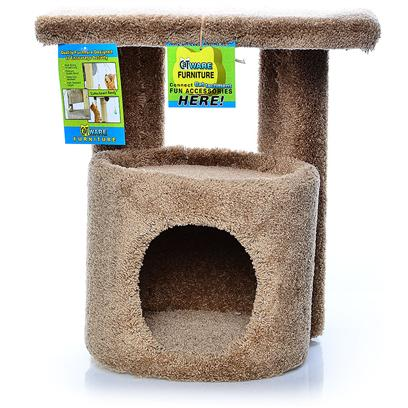 Ware Manufacturing Presents Kitty Condo with Platform Perch. Carpeted Condo with Perch for Sitting or Lounging. Dimensions 19&quot;X13.5&quot;X20.5&quot;. (Carpet Colors will Vary.) [17834]