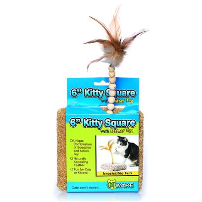Ware Manufacturing Presents Kitty Square with Spring Pom. Carpeted Square with Spring Toy. Dimensions 6&quot;X6&quot;X12&quot;. (Carpet Colors will Vary.) [17835]