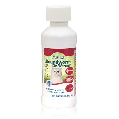 8 in 1 Presents Excel Roundworm de-Wormer 4oz. Formulated for Cats • Effectively Removes Large Roundworms • Tasty • Easy to Feed Liquid Special Child Resistant Cap [17839]