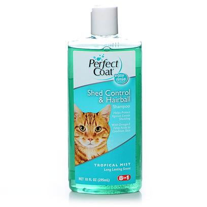 8 in 1 Presents Perfect Coat Shed Control Shampoo Cats 10oz 8in1 Shamp Cat. 8in1 Understands the Special Needs of Cats and Kittens. Our Premium Line of Cat Products Includes an Array of Essential Grooming, Health Care Remedies, Supplements and Accessories for the Unique Feline Needs. Perfect Coat Shed Control &amp; Hairball Shampoo Helps Control Excess Shedding and Reduces Hairballs while Leaving Coat Clean and Shiny. Fortified with Antioxidents and Omega 3 Fatty Acids. Long Lasting Tropical Mist Fragrance. [17840]