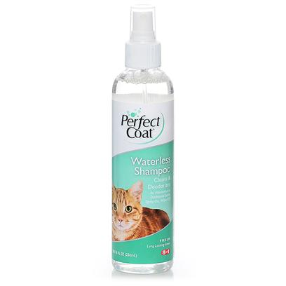 8 in 1 Presents Perfect Coat Waterless Shampoo for Cats 8oz 8in1 Shamp Cat. Convenient Alternatiive to Traditional Bathing • Provides Easy, no-Rinse Bathing • Spray on, Wipe Clean • Convenience Product is Easy to Use at Home Great for Senior, Difficult-to-Bathe or Injured Cats and Kittens • Capture Audience that Currently does not Bathe Cat at Home or does so Infrequently Due to Difficulty of Bathing Process Alcohol-Free Formula with Moisturizers and Detanglers 8.0 Oz [17842]